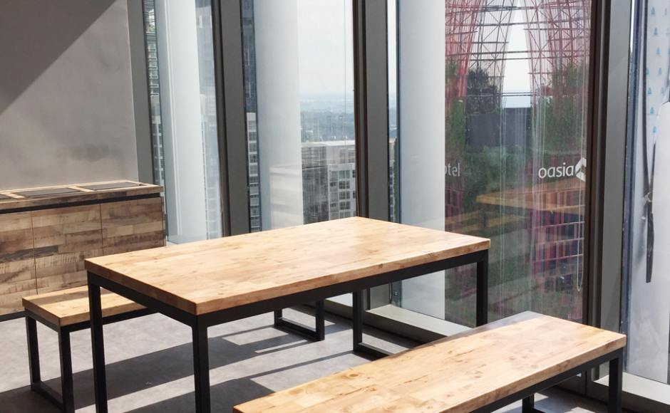 Uber – GuocoLand | Product(s) seen: [Ricky Dining Table w/ Butcher Top – & Bench Customisable]