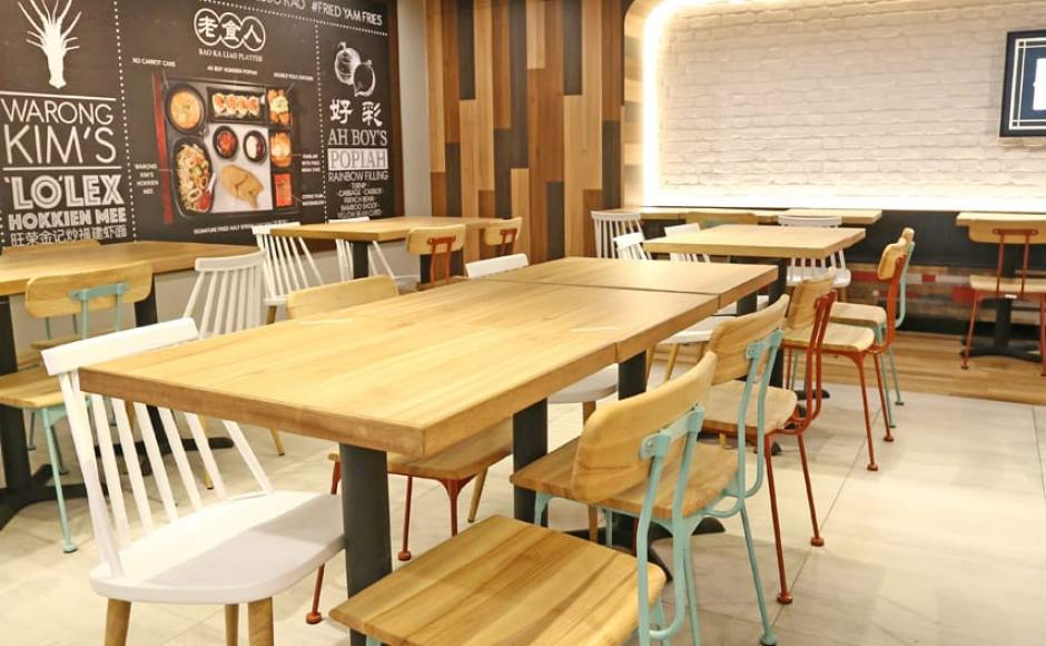 Hawkerman - Singpost Centre | Product Seen: [Mito Sidechair - Wood Seat, Choyu Chair & Customised Laminate Tabletop + Filo Table Base]<br />
