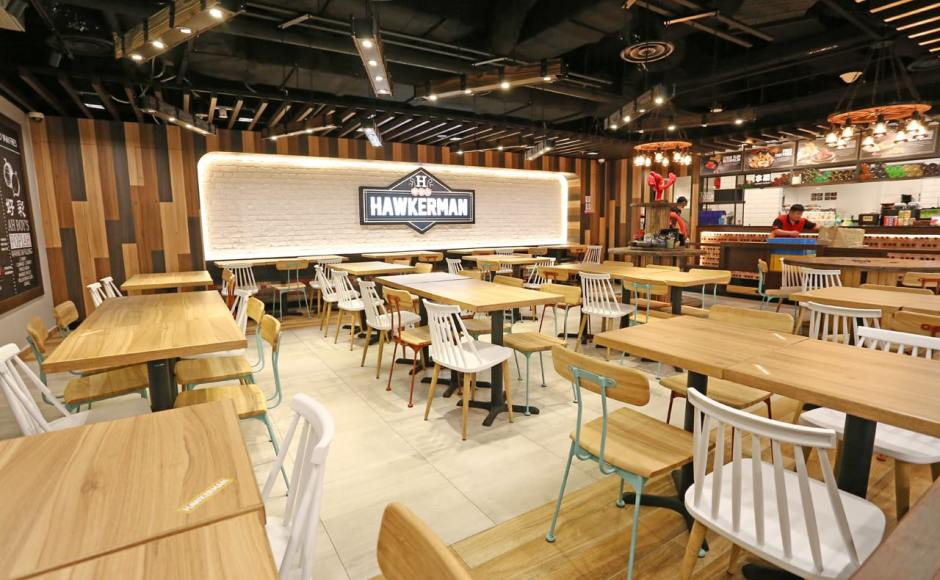 Hawkerman - Singpost Centre | Product Seen: [Mito Sidechair - Wood Seat, Choyu Chair & Customised Laminate Tabletop + Filo Table Base]