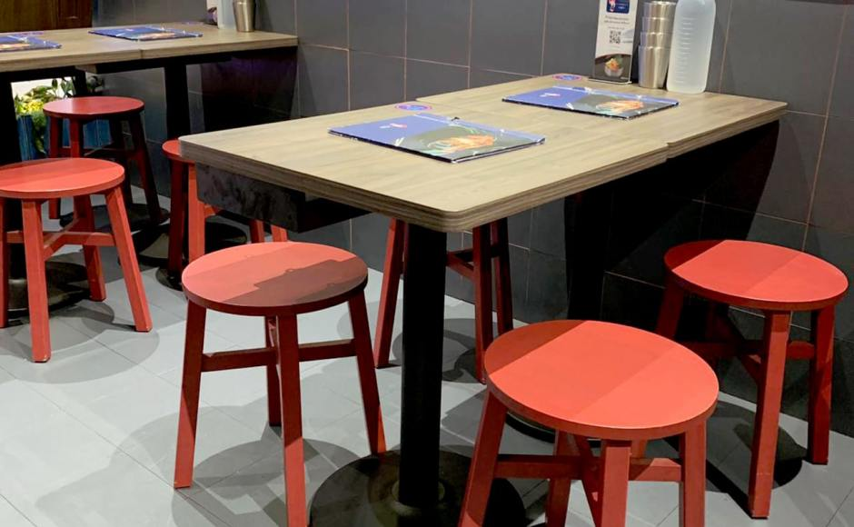 Ajumma's - Funan | Product Seen: [Tang Stool – Square & Customised Laminated tabletop + Cosson Table Base]