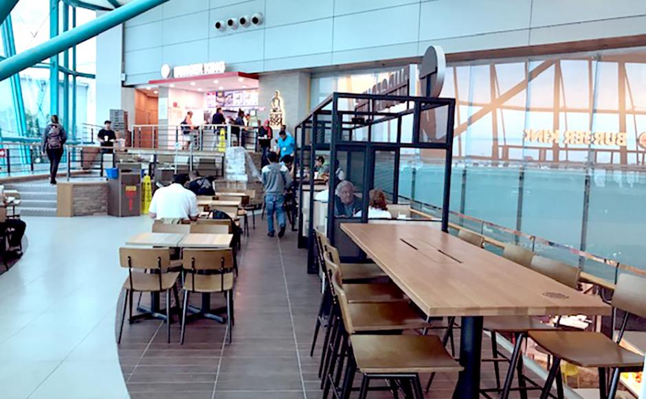 Burger King - Changi Airport Teminal 1 | Product Seen: [Customised Laminated Tabletop + Filo Table Base - V2 & Customised Furniture]