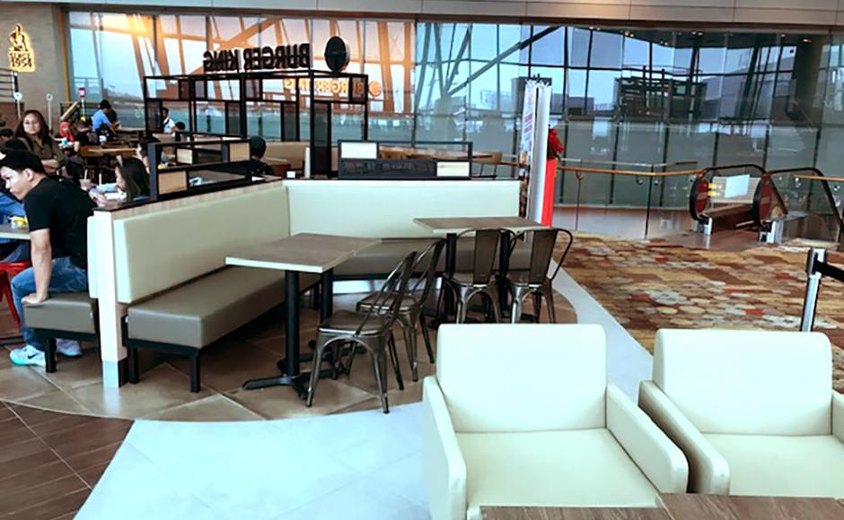 Burger King - Changi Airport Teminal 1|Product Seen: [Leo Side Chair - Steel Seat, Customised Laminated Tabletop + Filo Table Base - V2 & Customised Furniture]