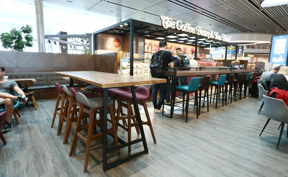 The Coffee Bean & Tea Leaf - Changi Airport Terminal 4 | Product Seen: [Jazz Barstool – SH750, Sacco Lounger, Anderson Bar Table – Customisable & Gladys Barchair – V1, Spark Chair &  Jonah Armchair]