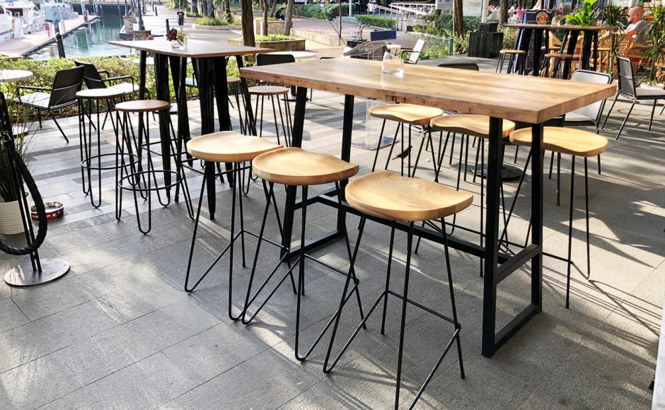 Greater Lot by Cedele - Sentosa Cove| Product Seen: [Anderson Bar Table – Customisable, Leo Bar Table, Uranus Barstool – SH750 & Hansel Barstool – Wood + Rust]
