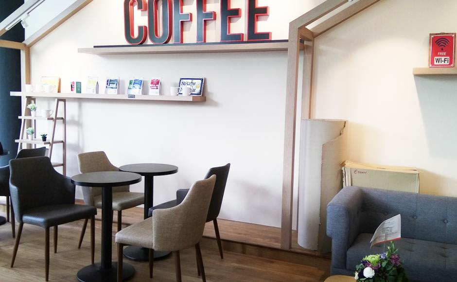 Jewel Cafe - Savourworld | Product Seen: [Corine Armchair, Customised Laminated Tabletop + Cosson Table Base, Sonia 2.5 Seater Sofa & Oxford Coffee Table]