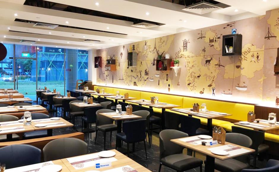 Kailash Parbat Restaurant - Changi Business Park | Product Seen: [Elephant Sidechair & Customised Laminated Tabletop With Natural Plywood Edging]