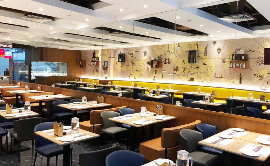 Kailash Parbat Restaurant - Changi Business Park | Product Seen: [Elephant Sidechair, Leopard 2–Seater Sofa & Customised Laminated Tabletop With Natural Plywood Edging]