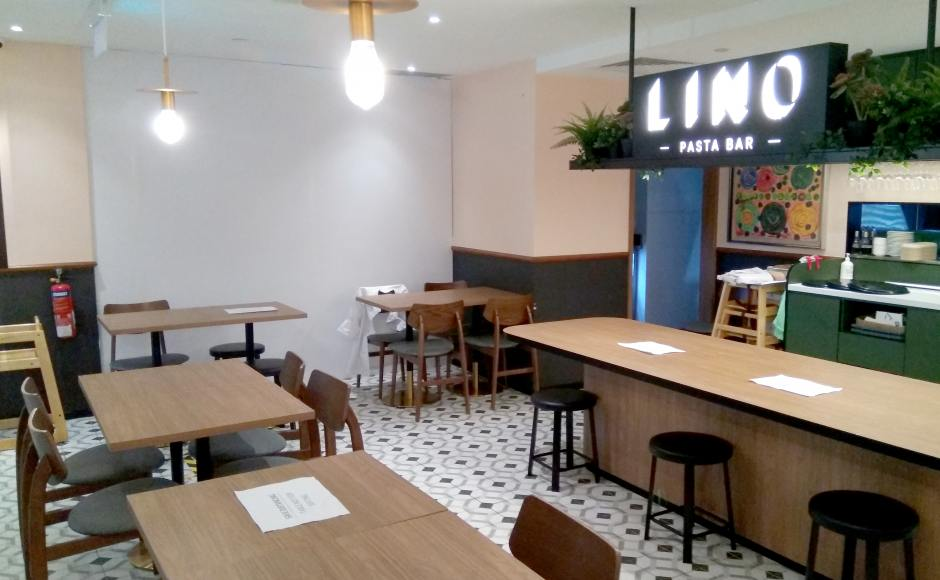 LINO Pizza & Pasta Bar | Product Seen: [Campri Side Chair & Customised Laminated Tabletop + Gala Dining Table Base - Dia430]