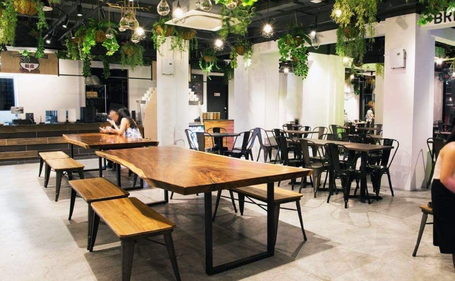 Marcos Holdings Pte Ltd - 32 Sultan Gate | Product Seen: [Dojo Sidechair - Steel Seat, Customised Laminate Tabletop + Filo Table Base & Dojo Bench – No Back]<br />