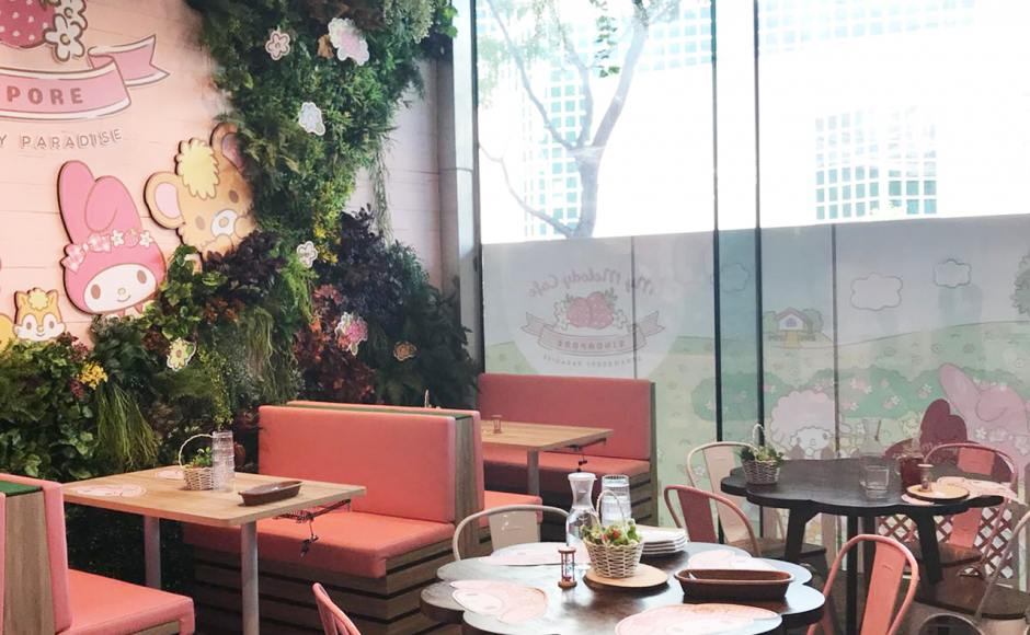 My Melody Cafe - Suntec City | Product Seen: [Dojo Sidechair – Wood Seat, Back to Back Booth Seat (Storage optional) & Customised Laminated Tabletop + Pattaya Table Base]