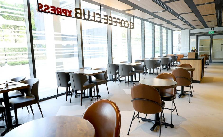 O'Coffee Club - Academia @ SGH | Product Seen: [Elephant Side Chair, Novum Side Chair & Customised Butcher Block Wood + FLAT® KX22 – H720 (For Dining Table)]