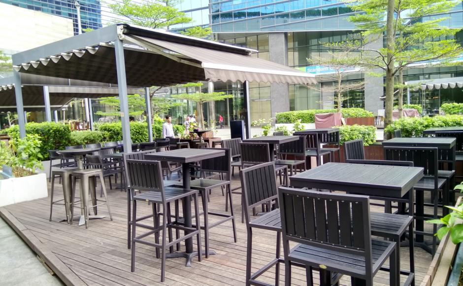 Harry's Bar - Marina Bay Link Mall | Product Seen: [Hiro Outdoor Bar Chair, Hiro Outdoor Tabletop – Customisable + Filo Table Base & Dojo Barstool SH750 – Steel Seat]<br />