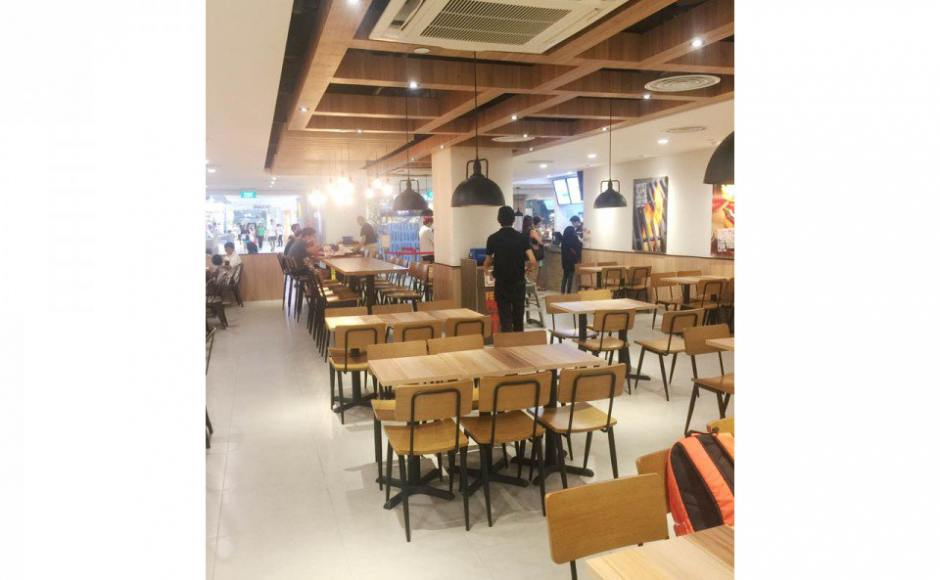 Burger King - Compass One | Product Seen: [Customised Side Chair, Customised High Chair, Customised Laminate Tabletop + Filo Table Base, Customised High Tabletop + Mounty Table Base - Black, & Dojo Sidechair (No Wood)]<br />