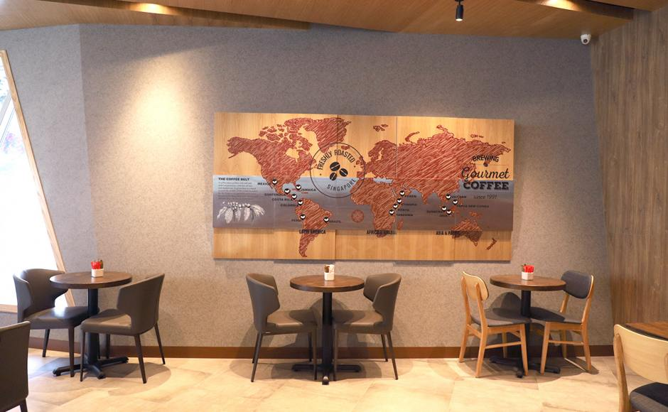 O'Coffee Club - Jewel Changi Airport (3rd Level) | Product Seen: [Customised Distressed Tabletop + FLAT® KX22 – H720 (For Dining Table), Elephant Side Chair & Duxton Side Chair - Natural]