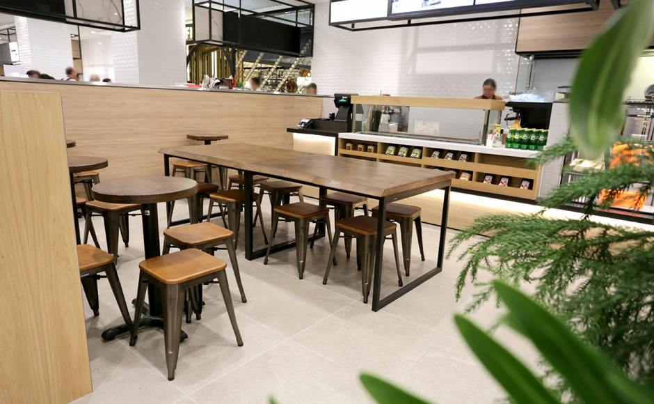 O'Coffee Club - Jewel Changi Airport (Basement Level) | Product Seen: [Alex Low Stool – Wood Seat, FLAT® KX22 – H720 (For Dining Table) & Customised Distressed table top + Ricky Table Base – Customisable]