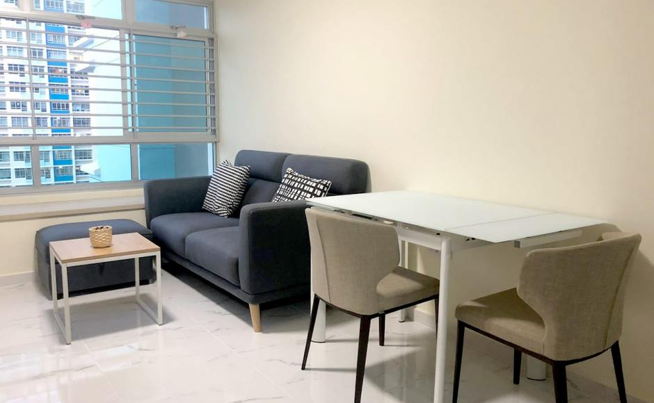 Bendemeer - HDB | Product Seen: [Vovo Extendable Table – W960/1195/1425, Neuron 2.5 Seater Sofa, Treasure Ottoman (Storage), Elephant Side Chair & Dina 2-in-1 Coffee Table (Nestable)]