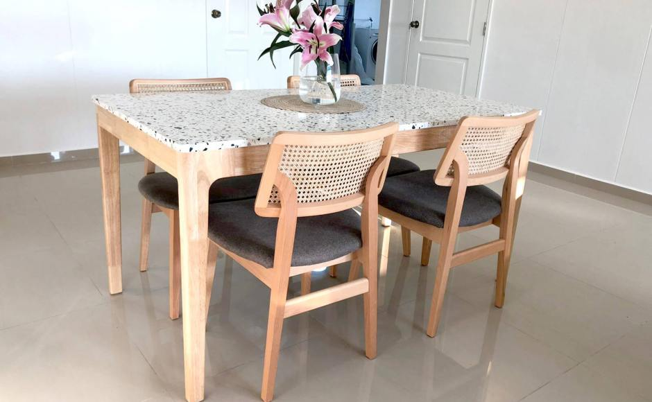 Minimalist Chic Apartment - Pasir Ris | Product Seen: [Terrazzo x Shiro Dining Table - W1500 & Jago Rattan Chair]