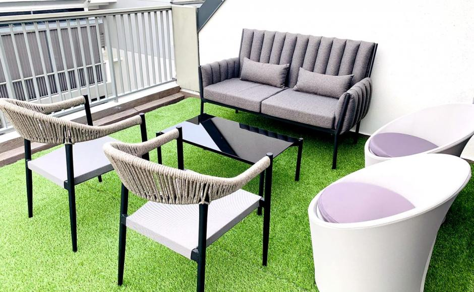 Outdoor Breeze - The Creek @ Bukit | Product Seen: [Jacinta Outdoor 2 Seater Sofa, Jacinta Coffee Table, Seychelles Outdoor Armchair, Synthetic Grass Carpet, Drainage Cell & Cabana Outdoor Lounger - Small]
