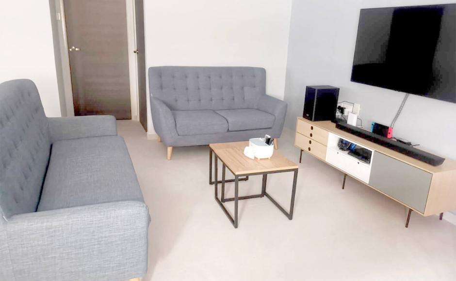 Simplicity Apartment - Choa Chu Kang | Product Seen: [Kayama 2–Seater Sofa, Kayama 3 Seater Sofa, Dina 2-in-1 Coffee Table (Nestable) & Demi TV Console – W1700]
