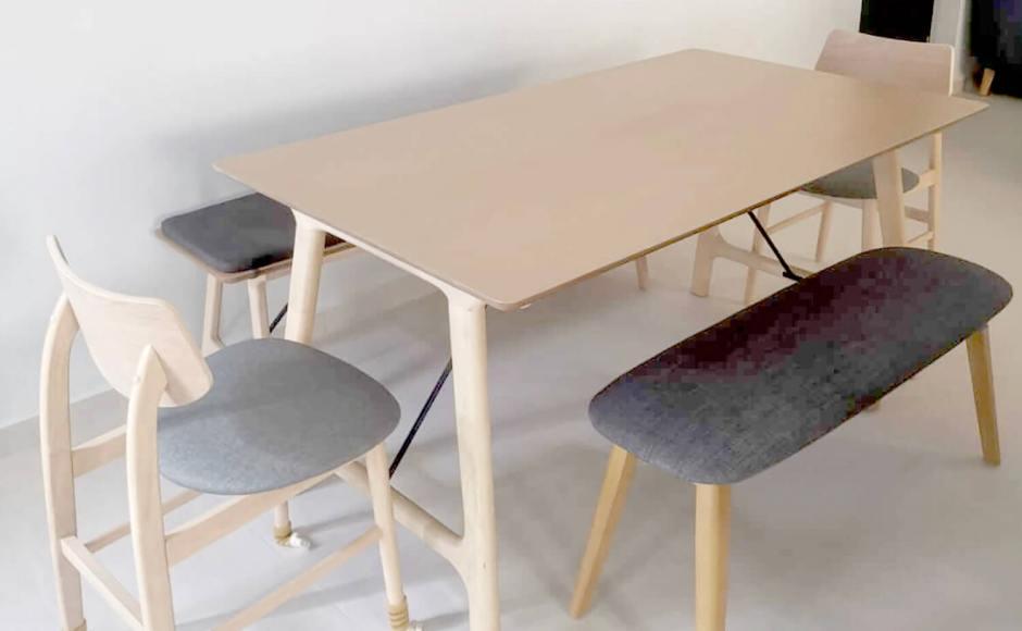 Simplicity Apartment - Choa Chu Kang | Product Seen: [Klara Dining Table – W1600, Klara Bench, Campri Side Chair & Barett Bench]