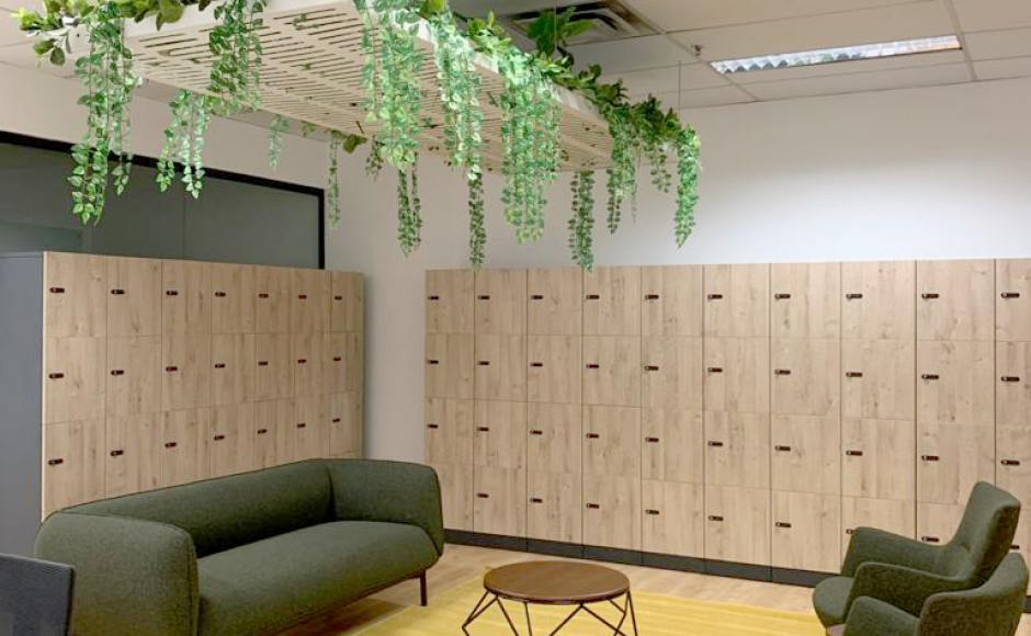 Office - Income @ Raffles | Product Seen: [Lindsey 3–Seater Sofa, SkyForest Planter, Cornelius Lounger, Zola Coffee Table – Walnut & Dolt 4-tier Melamine Locker]