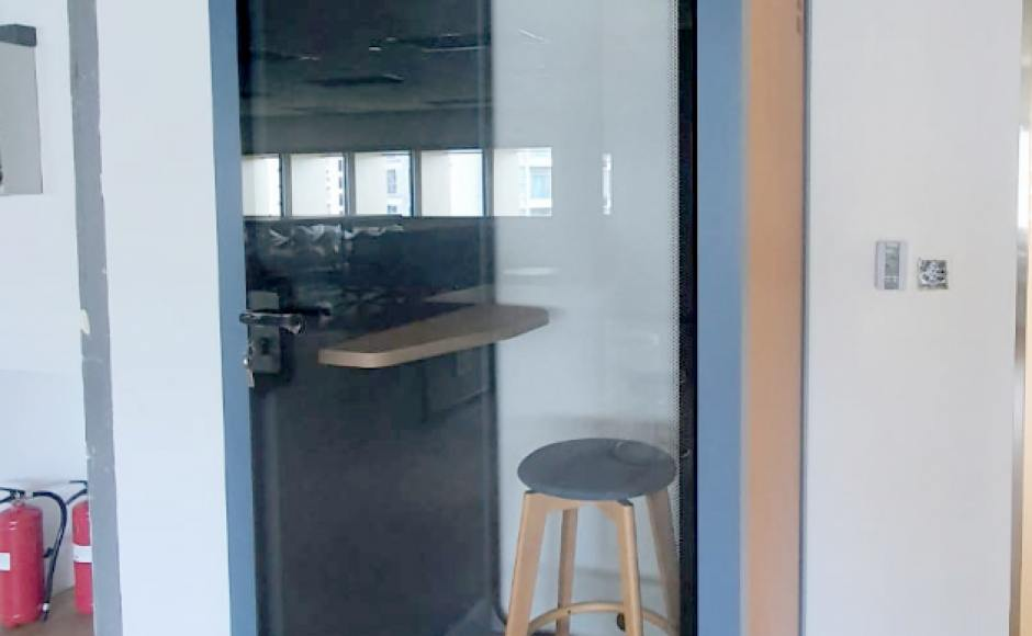 Softbank Robotics - Somerset | Product Seen: [Flight Privacy Pod in Size Small & Obie Barstool]