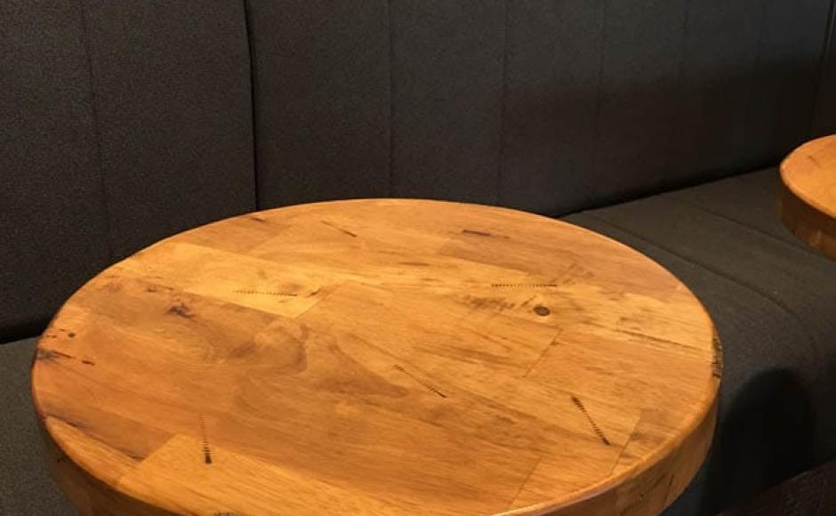 Coffee Joint @ Raffles City  |  Products seen: Distressed Table Top with Cosson Bar Table Base