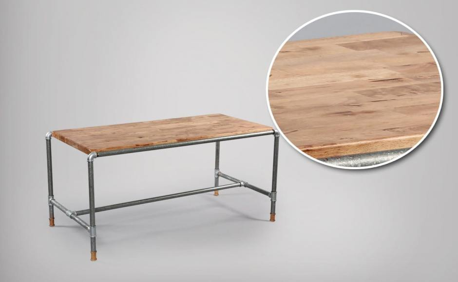 Distressed Table Top featured on Pipe Dining Table