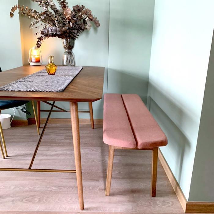 Haru Bench - Cushioned Seat/Wood Leg - W1100