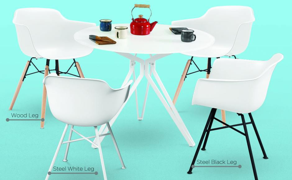 [Abang – Wood Chair, Abang – Steel Chair & Haley Dining Table – Dia1000]