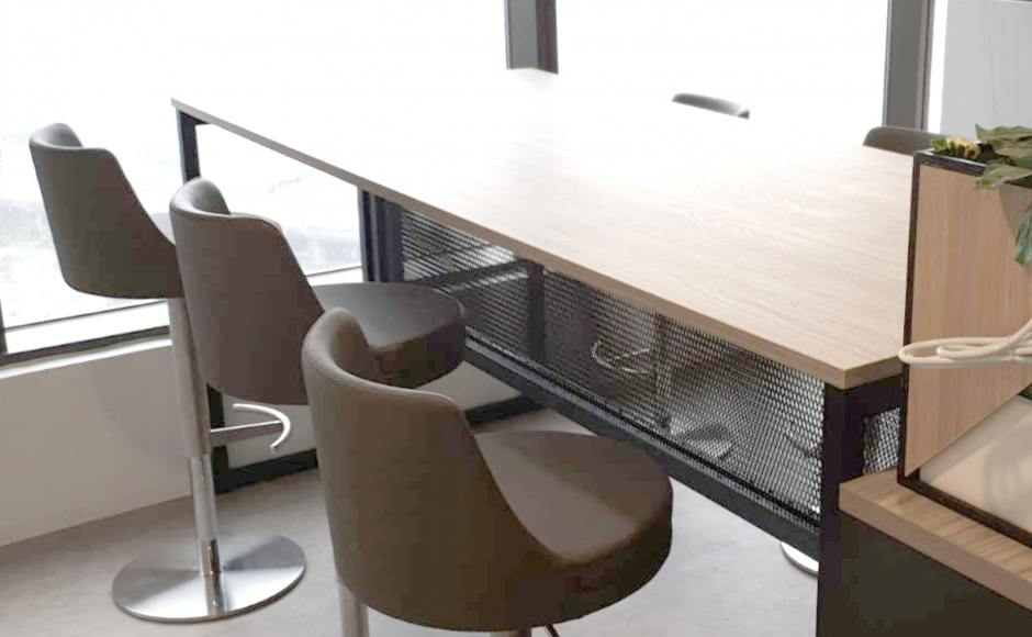 Office - AXA Tower  | Product Seen: [Donald Barstool & Bar Table with Mesh]