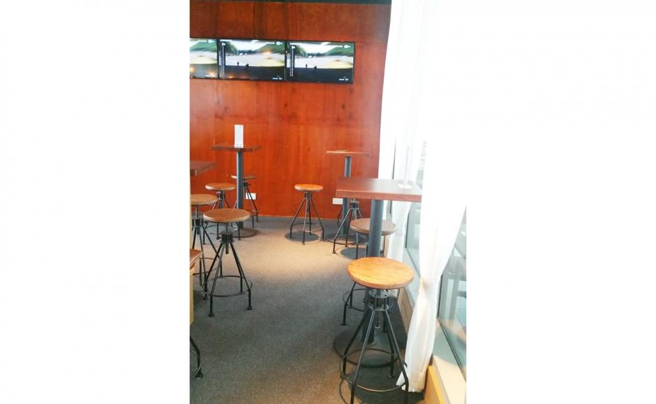 Barnacles Pte Ltd @ Custom House | Product Seen: [Afro Barstool – SH650 & Customised Butcher tabletop + Cosson Table base]