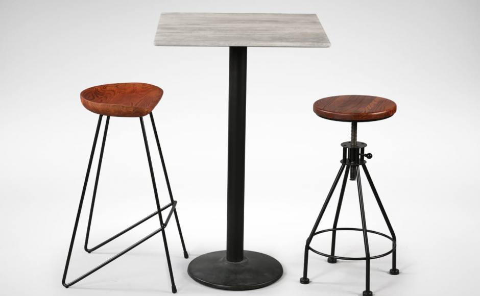 [Venus Barstool, Cosson Bar Table Leg w/ Isotop-Cement Table Top, & Afro Barstool)