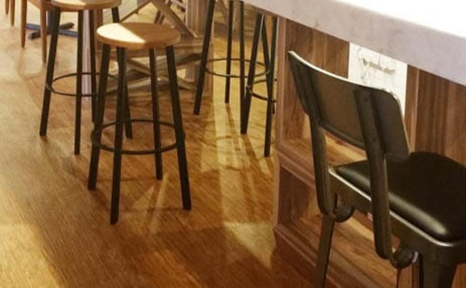 Travelodge Hotel - International Plaza, Anson Road | Products seen: [Toyo Barstool - Wood + Black Epoxy & Lick Barchair]<br />