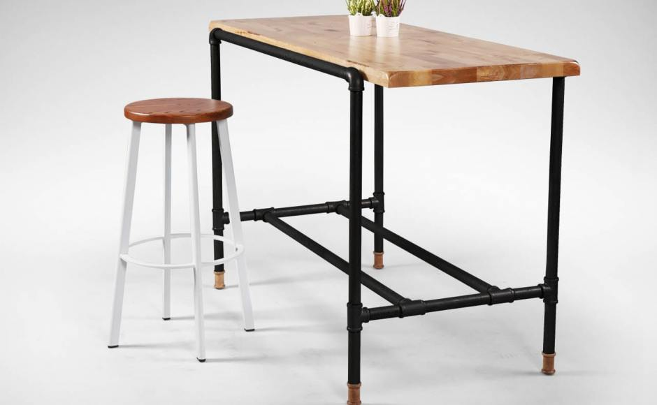 [Toyo Barstool – Wood + White Epoxy & Pipe Black Frame Bar Table]<br />