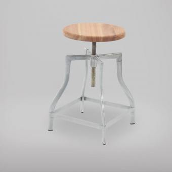 Industrial Stool / Bar Stool – Galvanised + Wood