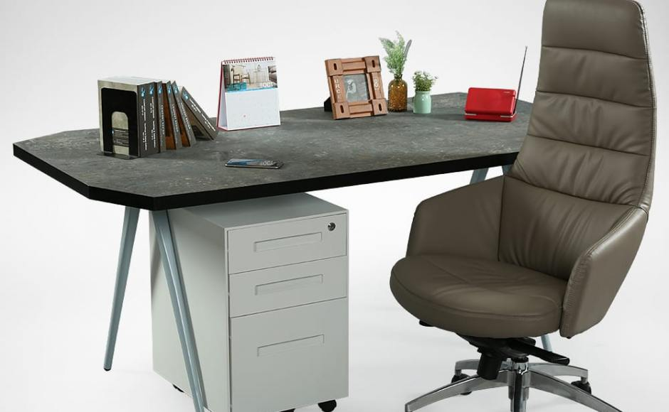 [Laminate Top + Garang Table Base - W1800, Armour Mobile Pedestal & Powell Highback Office Chair]