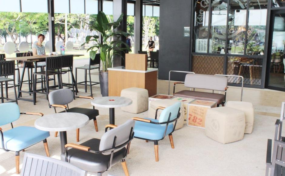 Coffee Bean - Marine Cove | Products seen: [Astro 1, 2 Seater Sofa, Customised coffee table, Customised Square Pouf, Warner Outdoor Armchair & Customised coffee table with Filo Table Base]