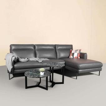 Karachi L-Shaped Sofa - Half Leather (Semi-Aniline) - Cat 15