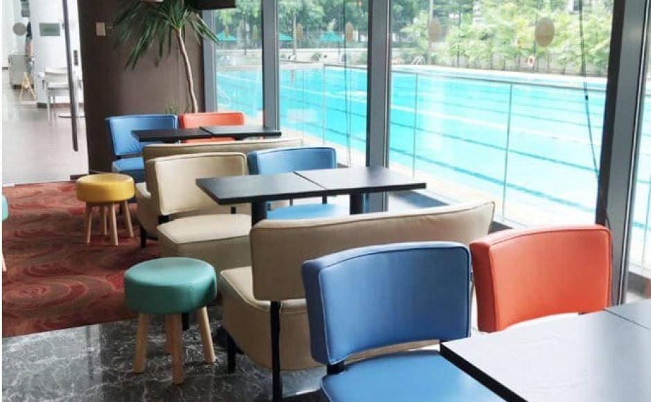 3Bars - Chinese Swimming Club | Products seen: [Leopard 1 & 2-Seater Sofa, Tapioca Stool & Customised Table Top in Cosson Table Leg H730]<br />