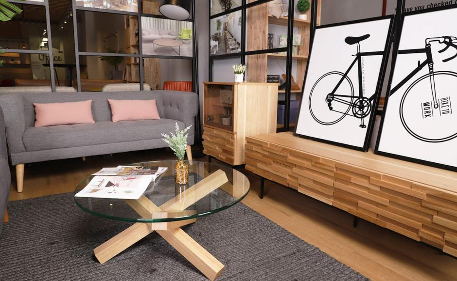 Sonia 2.5 Seater Sofa, Quiche Coffee Table, Poster – Bicycle, Motley Cabinet & Motley TV Console – W1600]