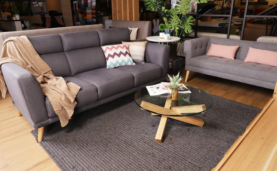 [Neuron 3 Seater Sofa – Fabric, Sonia 2.5 Seater Sofa & Quiche Coffee Table]
