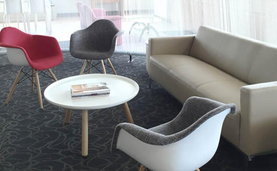 Ngee Ann Polytechnic | Products seen: [Camellia 3-Seater Sofa, Gum – Half Fabric + Tower Armchair & Lucy Coffee Table – Big]<br />