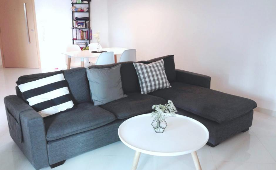 Apartment - Eight Courtyards | Products Seen: [Nacho L-shaped Sofa – Dark Grey, Lucy Coffee Table – Big, Norya Dining Table, Argo - PP + Tower Chair]<br />