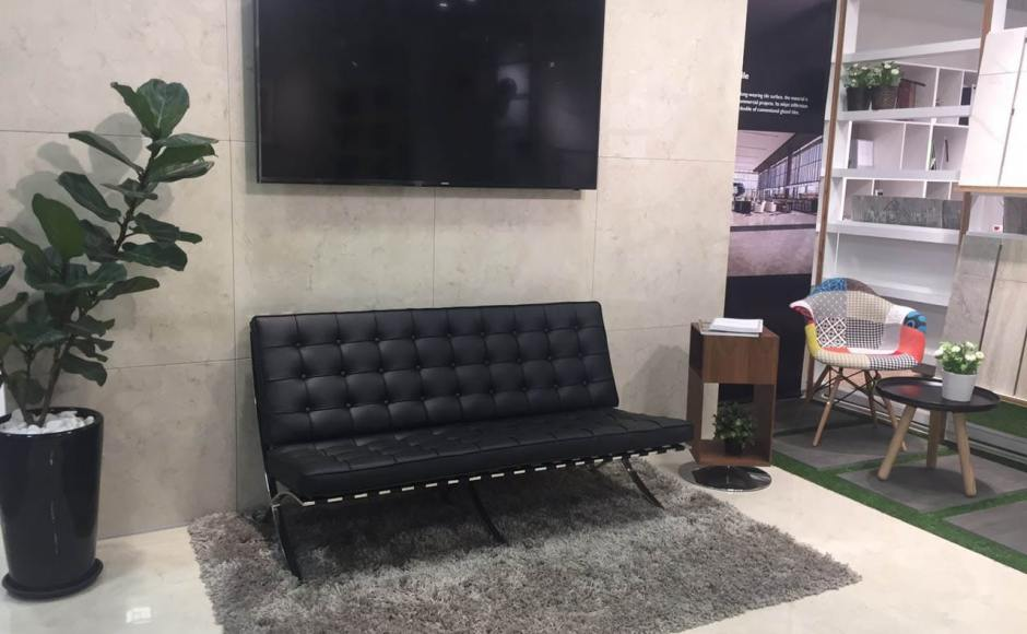 Hafary Eunos Gallery @ Eunos | Products Seen: Barcelona (replica) 2 Seater Sofa, Gum – Patch + Wood Armchair & Lucy Side Table<br />