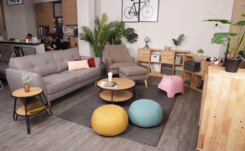 [Poster – Bicycle, Levi Coffee Table – Small, Levi Coffee Table – Big, Korito 3–Seater Sofa, Chimo – Small, Shavick Lounger, Kayama Ottoman, Oink Stool, Yoko Shelf 2x4, Rubic Modular Shelf & Volt Cabinet - H1020]<br />