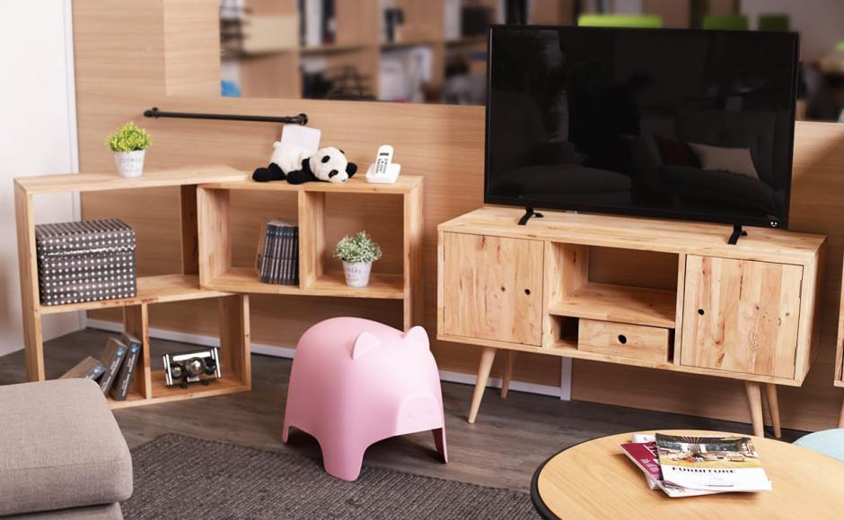 [Oink Stool, Volt TV Console – W1150, & Rubic Modular Shelf]<br />