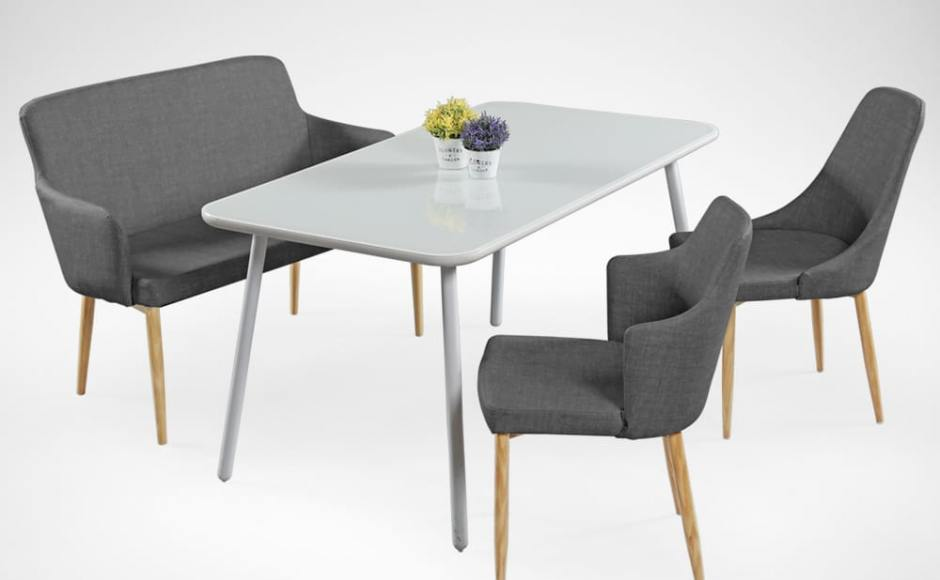 [Debbie Dining Bench, Sandra Dining Table, Corine Armchair & Beatrice Sidechair]