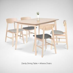 Zandy Dining Table + Athena Side Chair – Bundle 3