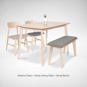 Zandy Dining Table + Zandy Bench + Athena Side Chair – Bundle 1